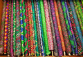 Colorful textured fine silk cloth rolls Royalty Free Stock Photo