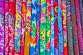 A colorful of thai silk fabric Stock Image