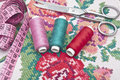Colorful threads and canvas cross stitch set Royalty Free Stock Photo