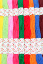 Colorful threads set background close up Stock Photo