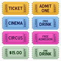 Colorful Tickets Collection Royalty Free Stock Photography