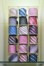 Colorful ties display on a shelf Stock Image