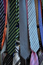 Colorful ties with stripes on the street sale Royalty Free Stock Photos