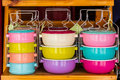 Colorful of tiffin box. Royalty Free Stock Photo
