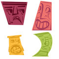 Colorful Tiki Heads Royalty Free Stock Image