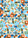 Colorful tiles pattern illustration with vintage colors Stock Image