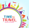 Colorful Time to Travel Around the World with Space for text Vector Pop Art