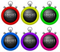 Colorful timers illustration of the on a white background Stock Photo