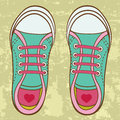 Colorful toddler girl trainers an illustration of Stock Photography