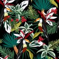 Colorful Toucan, exotic birds, tropical flowers, palm leaves, jungle leaf, wild flower seamless vector floral pattern. Tropical f