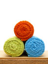 Colorful towels closeup of rolled Royalty Free Stock Images