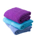 Colorful towels isolated on white background Royalty Free Stock Image