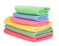 Colorful towels isolated on a white background Royalty Free Stock Photos