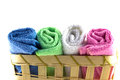 Colorful towels in rolls Royalty Free Stock Photo