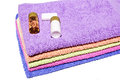 Colorful towels,Shampoo and soap Royalty Free Stock Photo