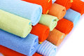 Colorful towels on white background Royalty Free Stock Images