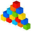 Colorful tower of building blocks Stock Images