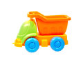 Colorful toy truck isolated on white background Stock Photos