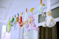 Colorful toys hanging clothespin wash Royalty Free Stock Images