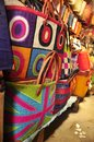 Colorful traditional bags of madagascar made raffia fair trade Stock Image