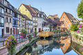 Colorful traditional french houses in petite venise on the side of river lauch colmar france Royalty Free Stock Photography