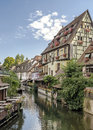 Colorful traditional french houses on the side of river lauch in petite venise colmar france Royalty Free Stock Image