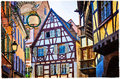 Colorful traditional houses of Alsace region - Strasburg town. F