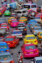 Colorful traffic taxi street of bangkok thailand Royalty Free Stock Photography