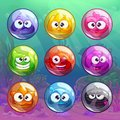 Colorful transparent bubbles with funny characters Royalty Free Stock Photo