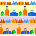 Colorful travel bags striped seamless pattern, vector