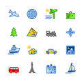 Colorful travel icons Stock Photos