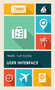 Colorful travel ui apps user interface flat icons mobile applications graphic set vector layered for easy editing Stock Photos