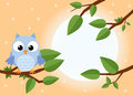 Colorful tree with cute owl. Cartoon bird in sunny forest. Flat