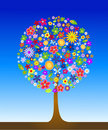 Colorful tree with flowers Stock Photo