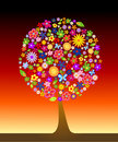 Colorful tree with flowers Stock Photography