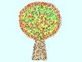 Colorful Tree pattern spiral decorative foliage
