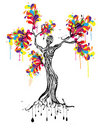 Colorful tree with women silhouette Stock Photography
