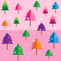 Colored geometric forest background pattern pink trees