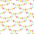 Colorful triangle flags garland on white seamless pattern, vector