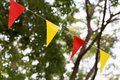 Colorful triangular flags of decorated celebrate Royalty Free Stock Photo