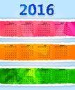 Colorful Triangular torn paper 2016 year calendar