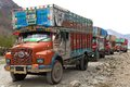 Colorful trucks brand TATA in Indian Himalayas Royalty Free Stock Photo