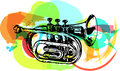 Colorful trumpet illustration on abstract background Royalty Free Stock Images