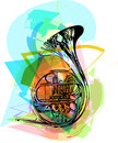 Colorful trumpet illustration on abstract background Stock Photos