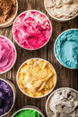 Colorful tubs of Italian ice cream Royalty Free Stock Photo