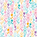 Colorful tulip flowers seamless pattern background vector dutch elegant with hand drawn dutch floral motives Royalty Free Stock Photography