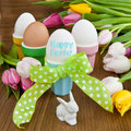 Colorful tulips and easter eggs fresh boiled in cups for Royalty Free Stock Photo