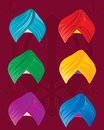 Colorful turbans an illustration of sikh on a red background with sikh symbol Stock Image