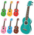Colorful ukulele set Royalty Free Stock Photography