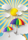 Colorful umbrella flying high in the air with sun shine Royalty Free Stock Photos